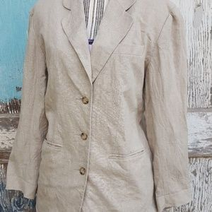100% linen, 3 button, light blazer/jacket. medium